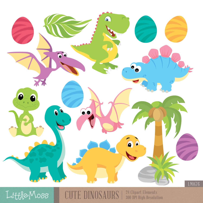 Cute Dinosaur Digital Clipart (1500 x 1500 Pixel)