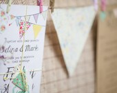 Rustic Country Fete Bunting Wedding Invite and RSVP