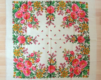 Vintage woolen shawl Woolen scarf with floral pattern #43