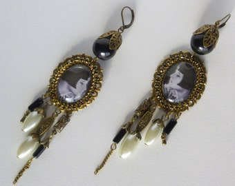 Art Deco 'Louise Brooks' cabochon glass illustrated, bronze metal, White Pearl glass style earrings