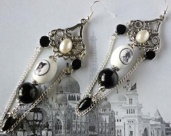 "Earrings earrings ""Shadow chinoises1900"" style retro, printed porcelain beads, glass of Bohemia"