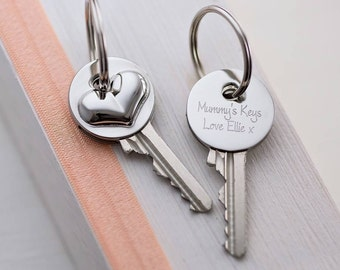 Personalised Key Cover. Personalized New Home Gift. Personalized Silver Disc. Engraved Key Cover.