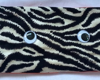 Cute zebra EYE PILLOW, On Sale  Washable cover, filled with organic linseeds, relaxation, meditation, yoga, womans