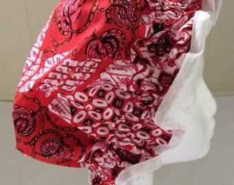 Red batik SHOWER CAP.  Adult