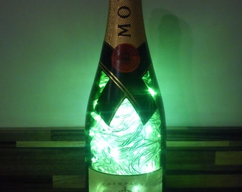 Upcycled Moet champagne bottle lamp - ideal for home, office, bar, man cave ... ANYWHERE