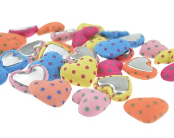 FiveSeasonStuff® 30 pcs Mix Color Heart Clothe Buttons / Fabric Printing Covered Buttons / Flat Back Fabric Butons / Covered Buttons DIY