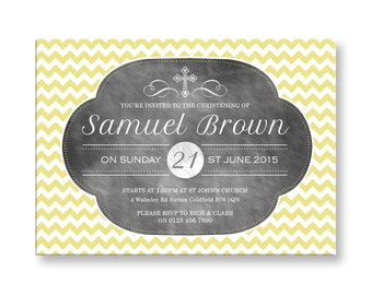 10 Personalised Christening/Baptism Invitations Chevron and Chalkboard Theme BC15 OR digital File