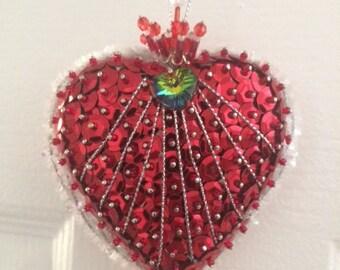 Beaded heart ornament / favor