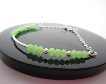 Lime green sterling silver tube bracelet