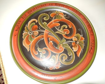 DENMARK OPHOLD SOMMERCN Rosmaling Plate Wall Hanging