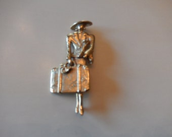 NEW YORK WOMAN with Poodle Pin or Brooche