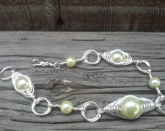 Herringbone wrapped bracelet, silver bracelet, green pearls