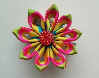 Flower Brooch - Pin - Hairclip - Kanzashi Brooch Hairclip - Handmade with Oriental Satin Brocade Fabric
