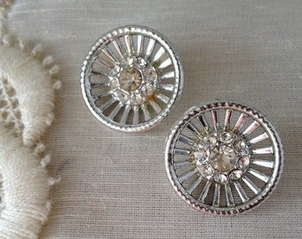 vintage rhinestone metal button pair lot  7/8 of an inch