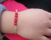 Natural Stone Coral Beaded Sterling Silver Chain Baby Bracelet  Best Gift For Birth , Baptism ....