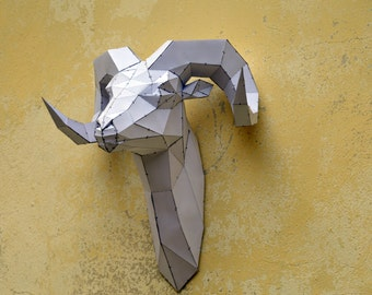 Make your own Rams Head Sculpture. | papercraft | Digital Download | ram sculpture | animal sculpture | origami | paper decorations