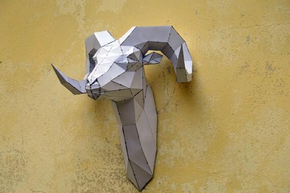 Make Your Own Rams Head Sculpture Papercraft Digital