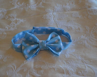 Baby Blue Polka Dot Adjustable Toddler Bow Tie