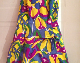 Amazing 1950s - 1960s colourful swimsuit /dress.