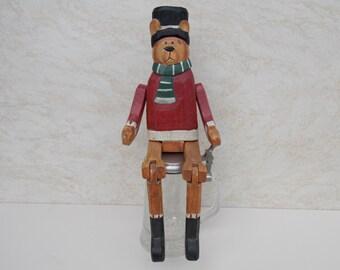 Vintage Teddy Bear / Home Decor /Teddy Bear / Wood Teddy Bear / Decor / Large