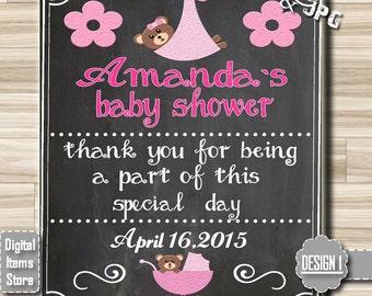 Chalkboard Sign Baby Shower, Chalkboard Sign, Printable Baby Shower Sign, Custom Chalkboard Sign, Baby Shower Sign, Thank You Sign