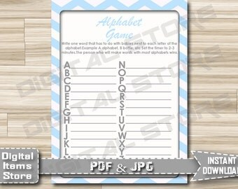 Printable Alphabet Name Game - Baby Shower Name Game With Chevron Blue Theme for Boy Shower - Instant Download - cb1