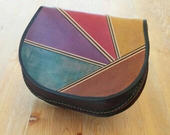 Leather Bag,  Rainbow - OOAK