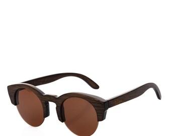 Booo CLUBMASTER wooden polarized sunglasses