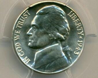 1943 D Jefferson Silver Nickel MS66 FS PCGS