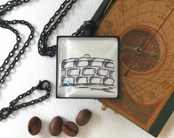 necklace ...wallflower..., handdrawn picture story toTheEndOfTheWorld, cabochon, black