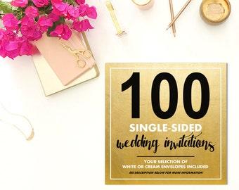 100 SINGLE-SIDED Wedding Invitations w/Envelopes