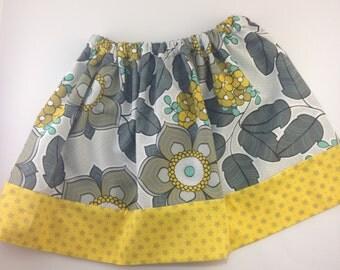 Girls Twirly Skirt - Grey and Yellow Girls Twirly Skirt