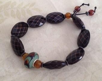 Green Murano Lampwork and Vintage Brown Beaded Bracelet