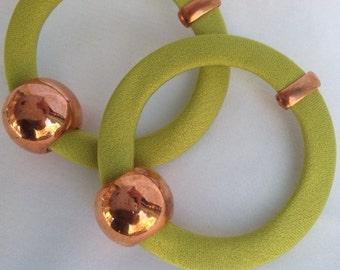 Earrings handmade in silk green color