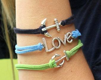 Navy Anchors Away Bracelet