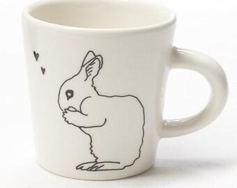 Ceramic Coffee Cup - Hearts Bunny