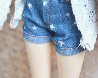 Bjd Star Short Jeans Pants for 1/4 MSD,1/3 SD16 DD,IP eid Doll Clothes