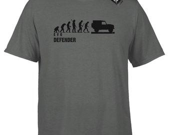Mans Evolution T-Shirt® Evo E V O Mens Ape To Land Rover Defender Grey/Charcoal Tee Gift Present Idea.