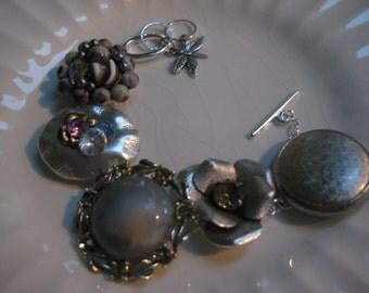 Vintage Earring Bracelet (13) Repurposed, Vintage Earrings, Wedding, Bridesmaid, Bride, Gray, Grey, Silver