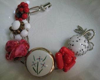 Vintage Earring Bracelet, Repurposed Jewelry, Upcycled Recycled, Repurposed Jewelry, Vintage Earrings, Red, White, eco friendly OOAK (29)