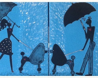Silhouette,  love at first sight, lovers, couple walking dog, dogs, rain, custom made painting