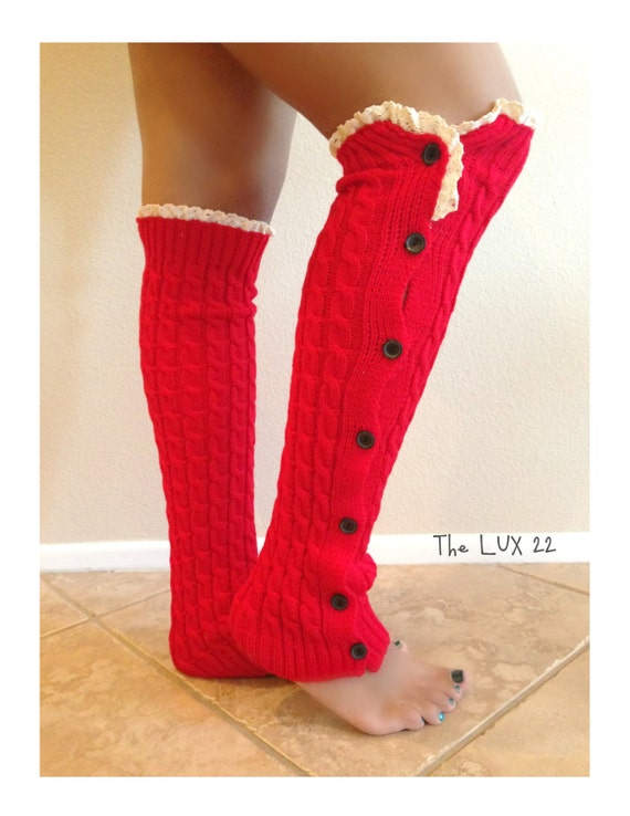 Leg Warmers Knit Socks Button Up Socks Lace Leg By TheLUX22