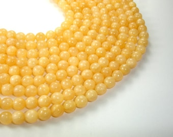 Yellow Jade Beads, Round, 8mm (7.8mm), 16 Inch, Full strand, Approx 52 beads, Hole 1 mm, A quality (440054002)