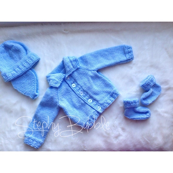 Matching handmade hand knitted baby boy clothing by stephybubble