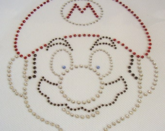 SUPER MARIO Iron On / Hot Fix Rhinestone, Diamante, Transfer, Motif, Bling