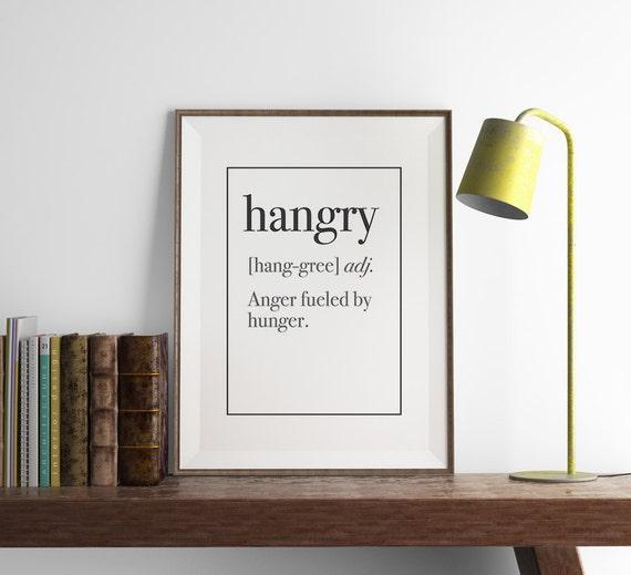 Hangry Definition Print Kitchen Wall Art Art By FuzzyandBirch