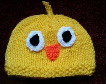 Baby chick hat knitted
