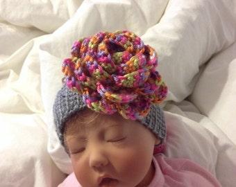 Crochet Headband with large flower/ Baby headband/Photo Prop