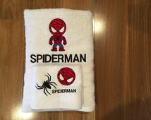 Spiderman Towel and Washer Set - White
