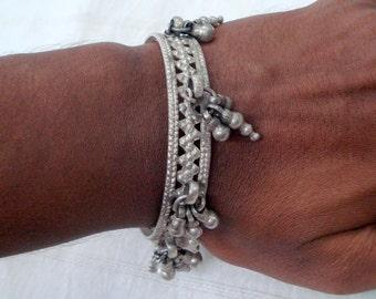 Vintage Antique ethnic tribal old silver Bracelet bangle bellydance jewelry